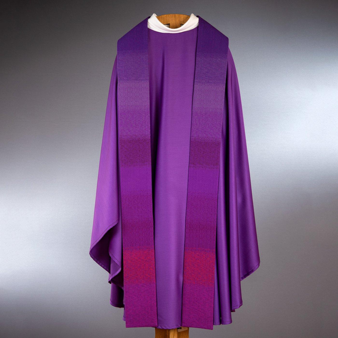 Chasuble violet-bleu avec étole laine fine tissée main